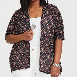 TORRID Black White Geo Knit Cardigan Short Sleeve